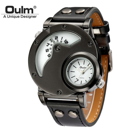 OULM Steel Case Dual Time PU Leather Watch - RHIZMALL.PK Online Shopping Store.