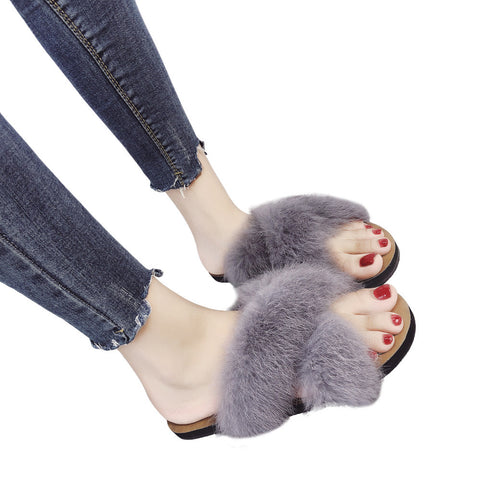Non-slip Furry Faux Slippers - RHIZMALL.PK Online Shopping Store.