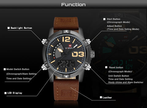 NAVIFORCE Analog Date Clock Leather Watch
