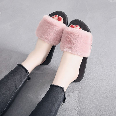 Women Fluffy Faux Fur Plush Slippers - RHIZMALL.PK Online Shopping Store.
