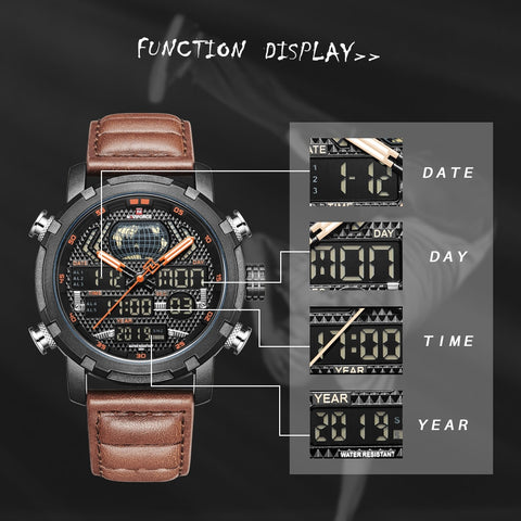 NAVIFORCE Luxury Leather Army Military Waterproof Watch