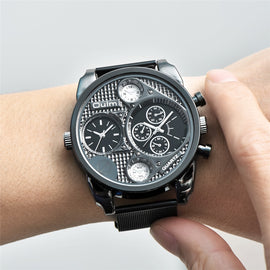 Oulm Luxury Leather 2 Time Zone Watch