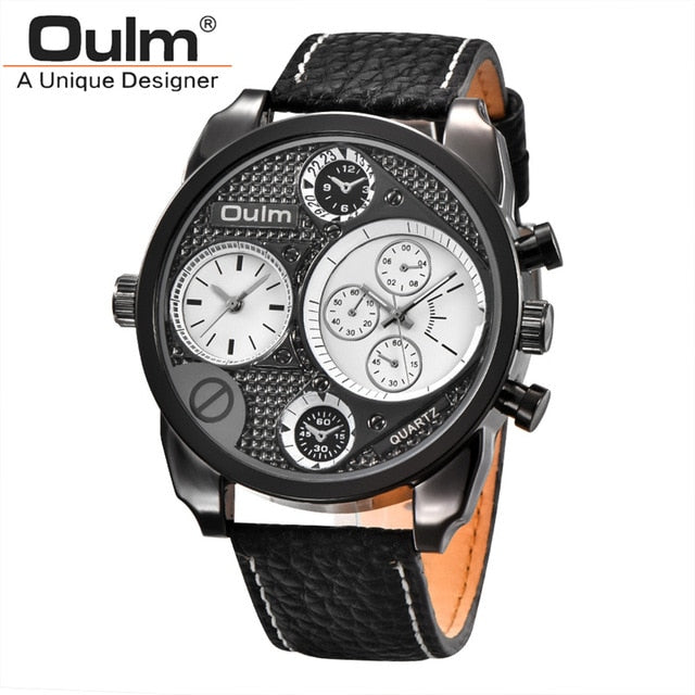 Oulm Luxury Leather 2 Time Zone Watch - RHIZMALL.PK Online Shopping Store.