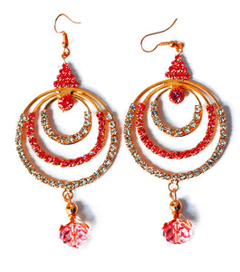 Beneta Triple  Gold Crystal Drop Earring - RHIZMALL.PK Online Shopping Store.