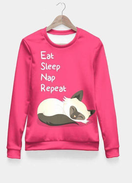 Cat's Life All Over Sweat Shirt Women - RHIZMALL.PK Online Shopping Store.