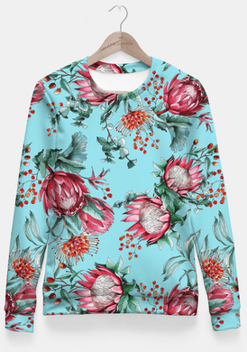 King protea flowers watercolor illustration Fitted Waist Sweater Women - RHIZMALL.PK Online Shopping Store.