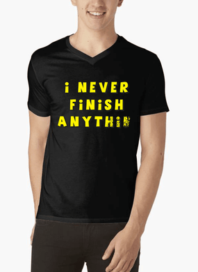 Never Finish V-Neck T-shirt - RHIZMALL.PK Online Shopping Store.