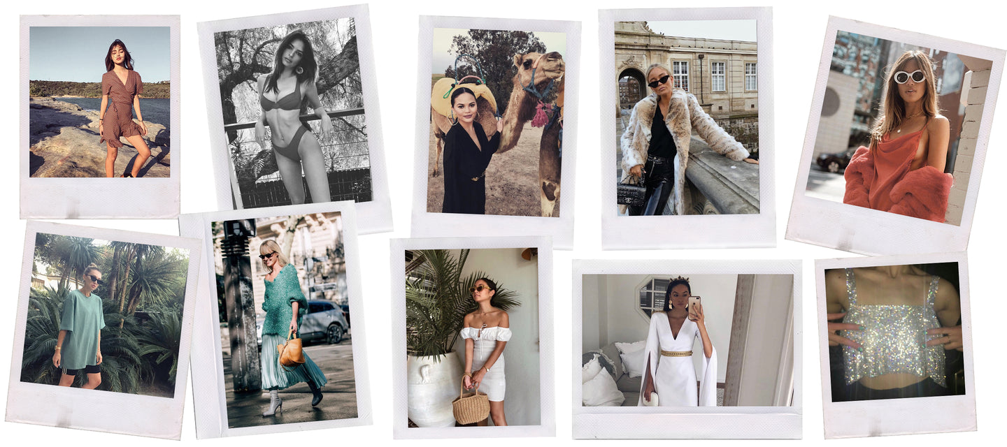 marble hive collage of influencers and celebrities wearing the products