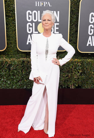 jamie lee curtis red carpet golden globes 2019