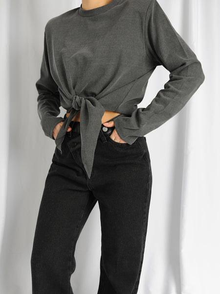 Grey Shoulder Pads Knot Long Sleeve Top