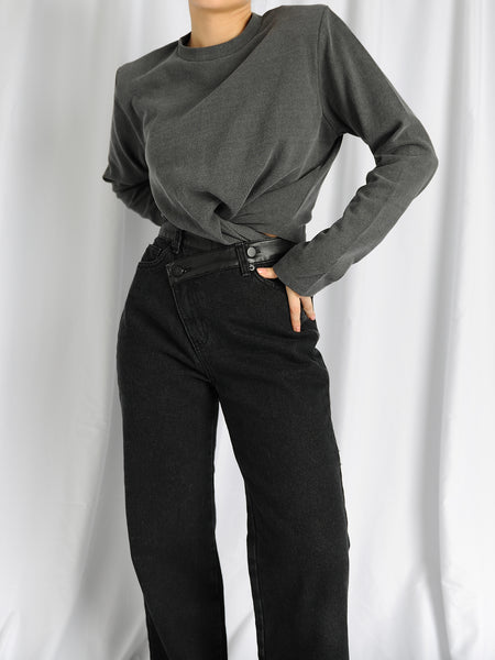 Asymmetric Leather Detail Wide Leg Jeans