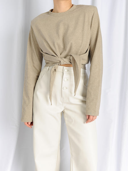 Beige Shoulder Pads Knot Long Sleeve Top