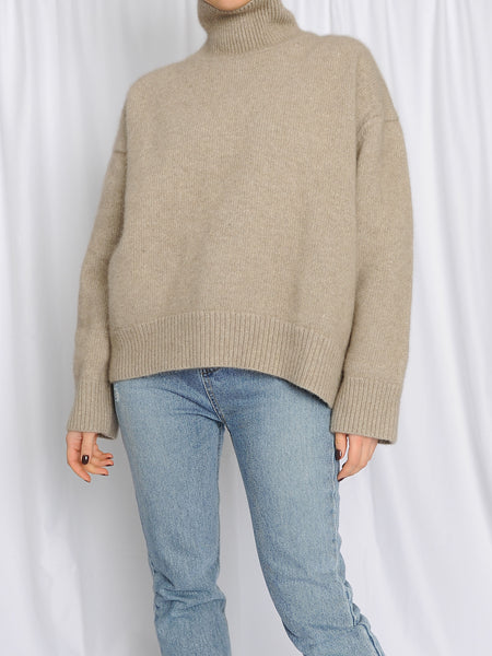 Taupe Soft Wool Turtleneck