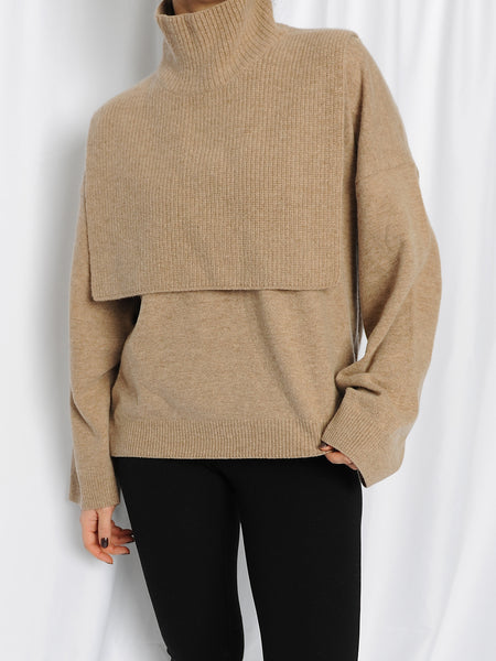 Beige Cashmere Collar & Sweater Set