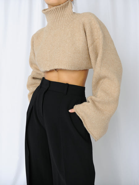 Beige Crop Sweater