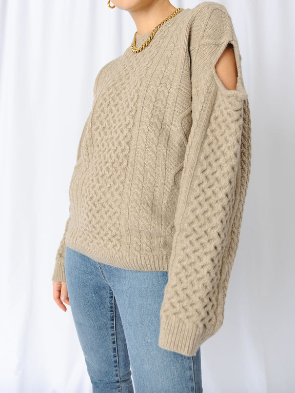 Beige Original Cutout Sweater