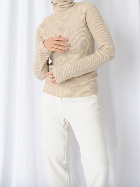 Cashmere Wool Beige Turtleneck