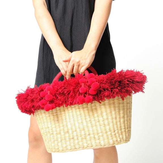Luly Burgundy Beach Bag With Pompoms - Marble Hive
