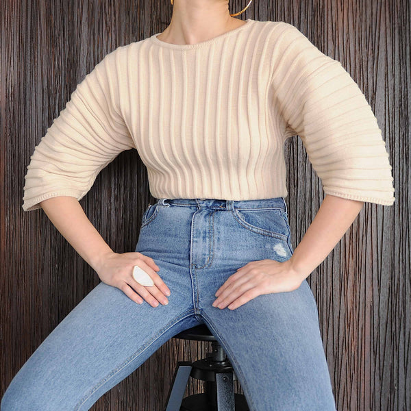 Beige Volume Sleeve Top