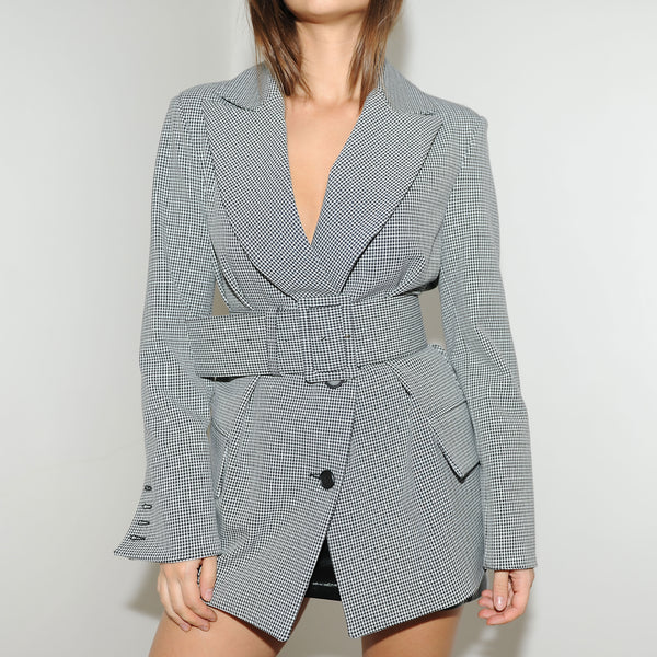 Black and White Check Belted Blazer - Marble Hive