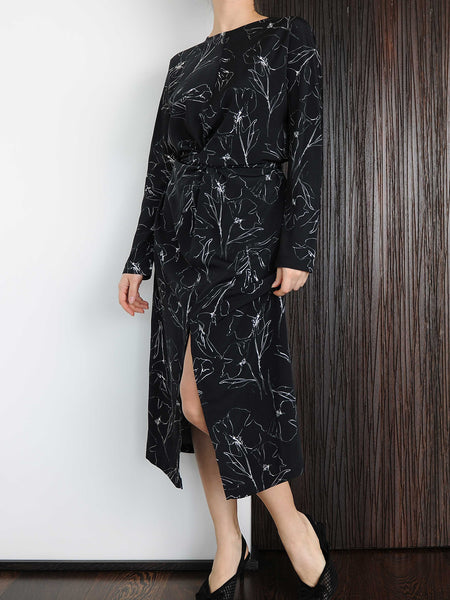 Black Twist Wrap Midi Dress - Marble Hive