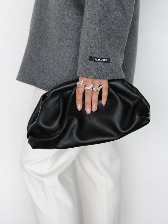 Black Frame Leather Clutch - Marble Hive