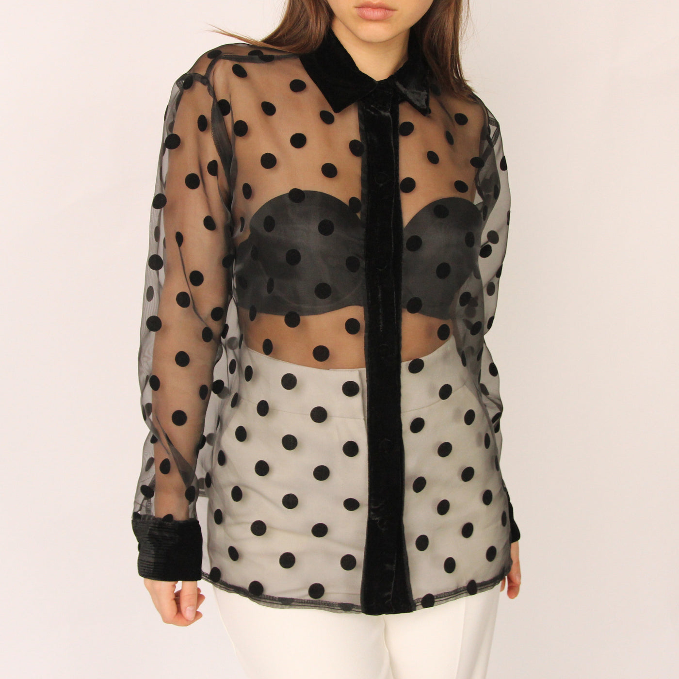 Black Polka Dot Blouse - Marble Hive