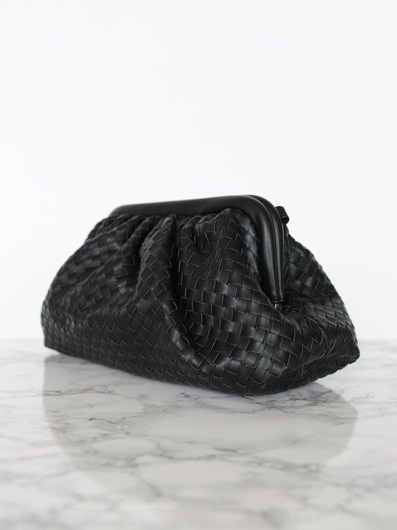 Black Leather Frame Woven Clutch