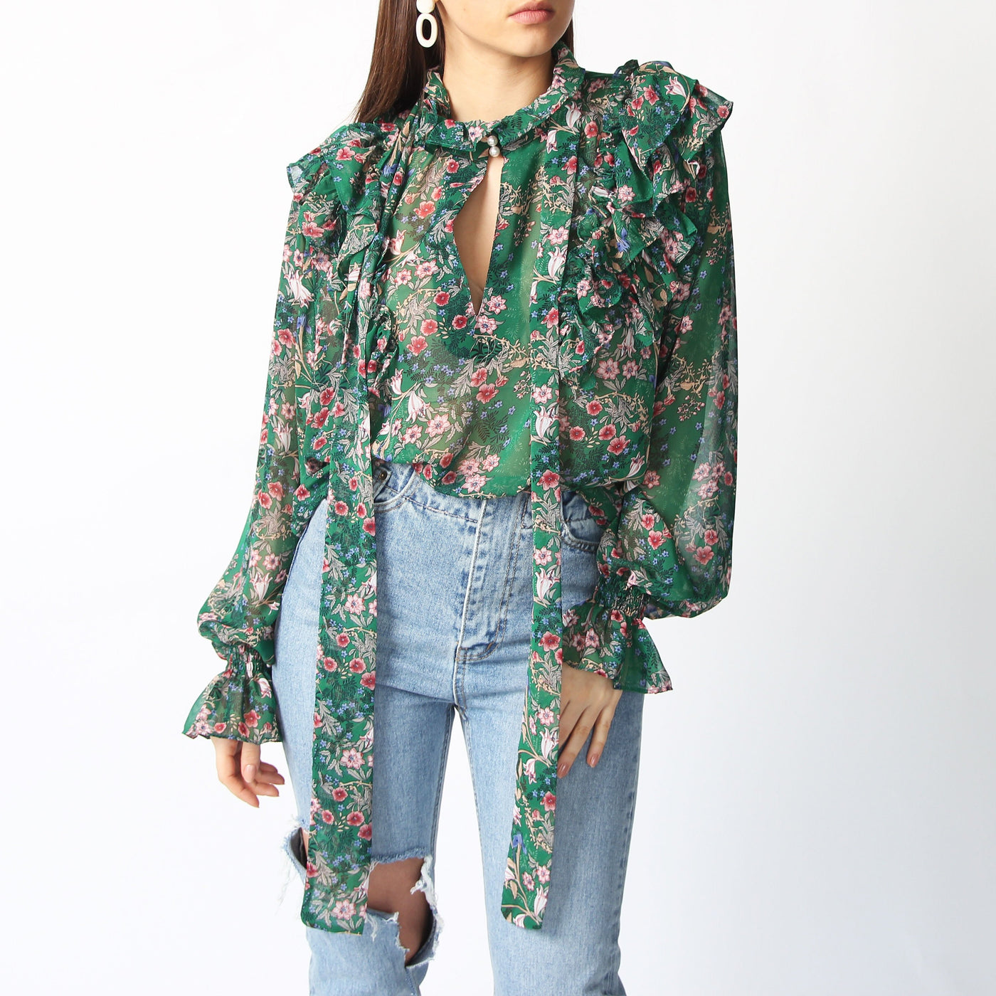 Green Floral Ruffle Blouse - Marble Hive