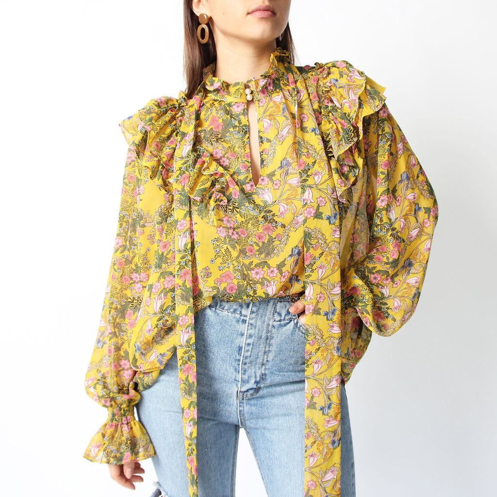 Mustard Floral Ruffle Blouse - Marble Hive