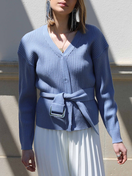 Blue Belted Cardigan - Marble Hive