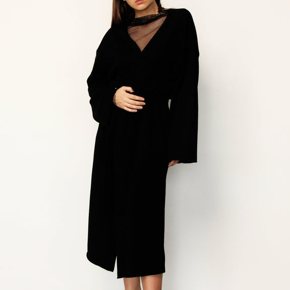 Black Long Cardigan with Side Slits - Marble Hive