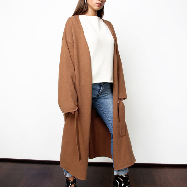 Brown Long Cardigan with Side Slits - Marble Hive