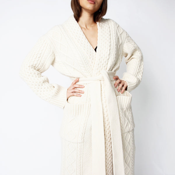Cable Knit Ivory Cardigan - Marble Hive