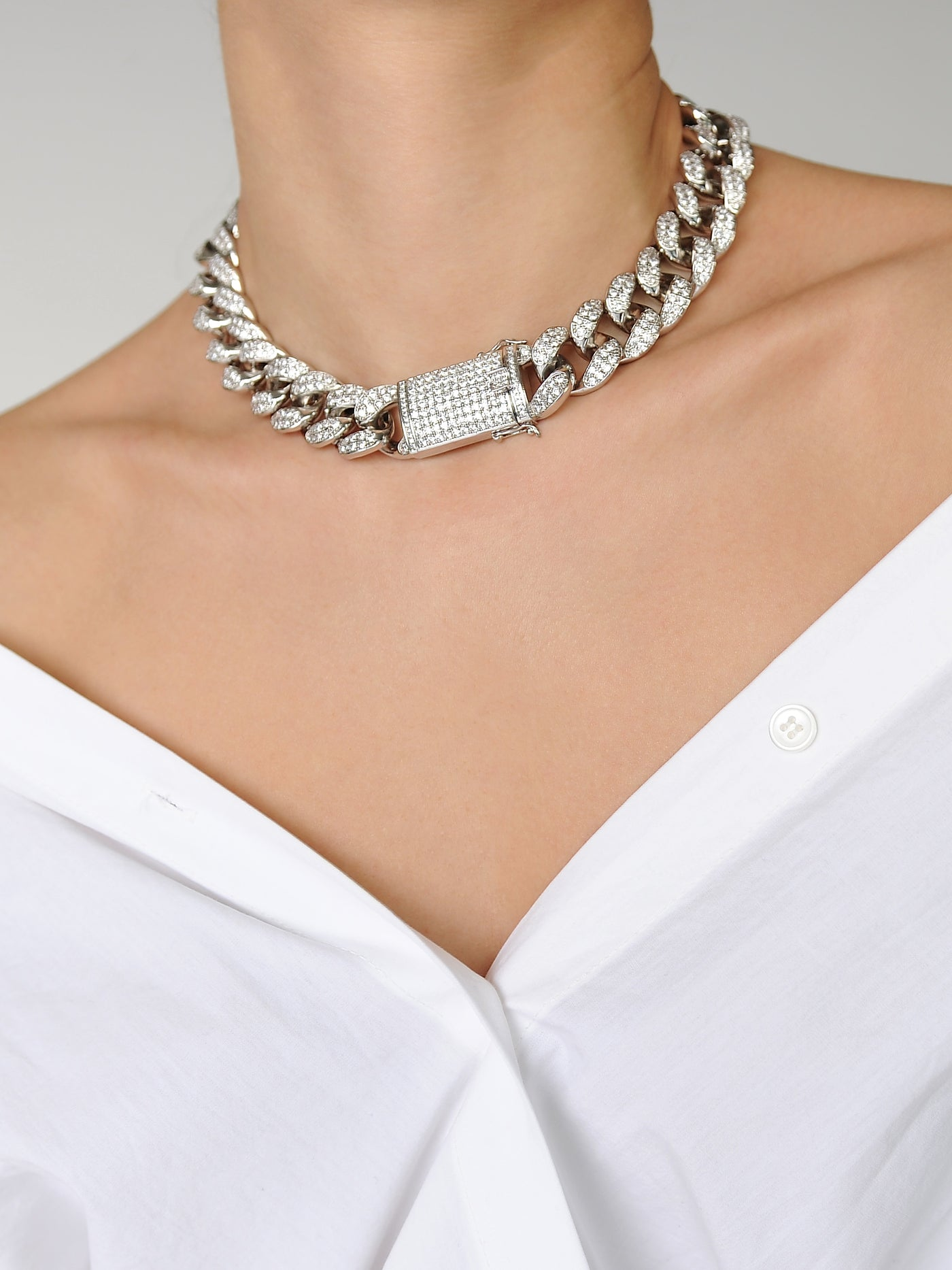 Chunky Lock Chain Necklace - Marble Hive
