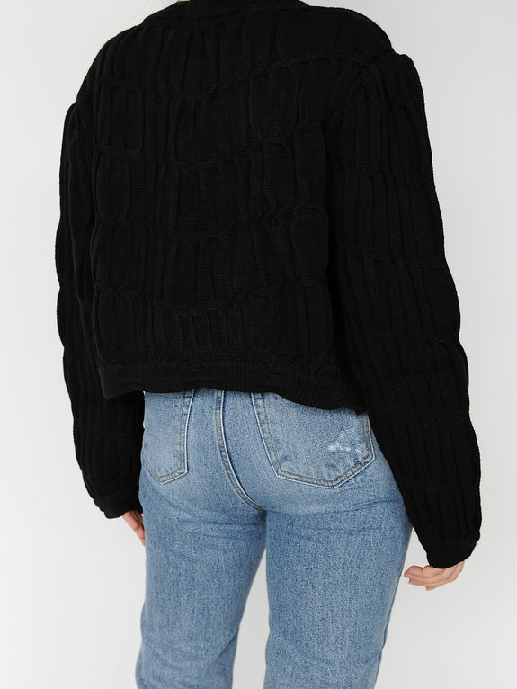 Black Crop Knit Cardigan - Marble Hive