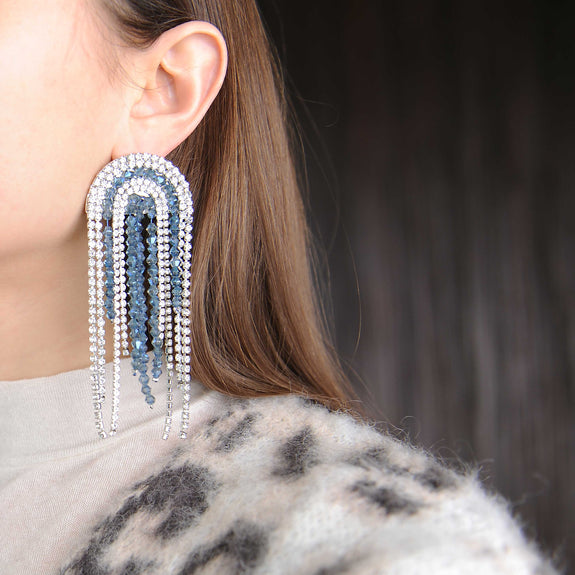 Crystal Blue Rhinestone Statement Earrings - Marble Hive