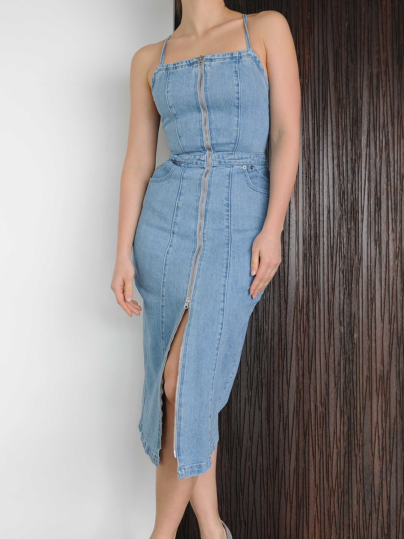 Front Zip Stevie Overall Denim Dress - Marble Hive