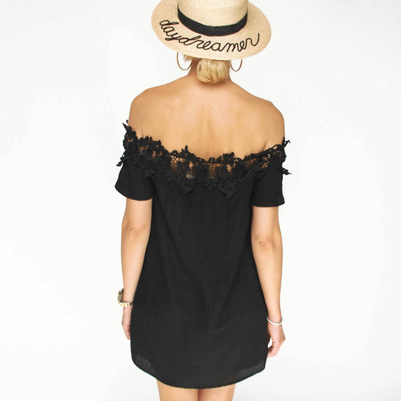 Black Off Shoulder Dress - Marble Hive