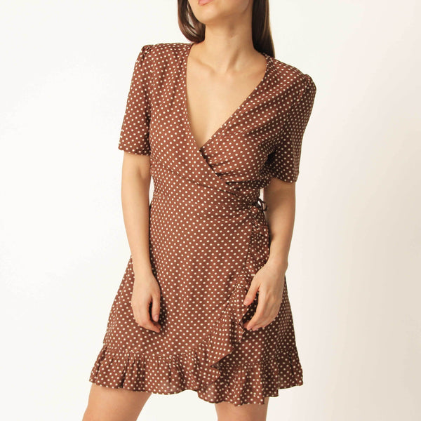 Brown Polka Dot Wrap Dress - Marble Hive