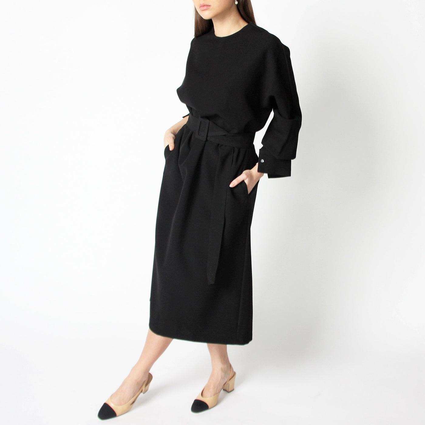 Classic Black Dress with a Belt - Marble Hive
