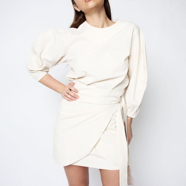 Ivory Puff Sleeve Mini Wrap Dress - Marble Hive
