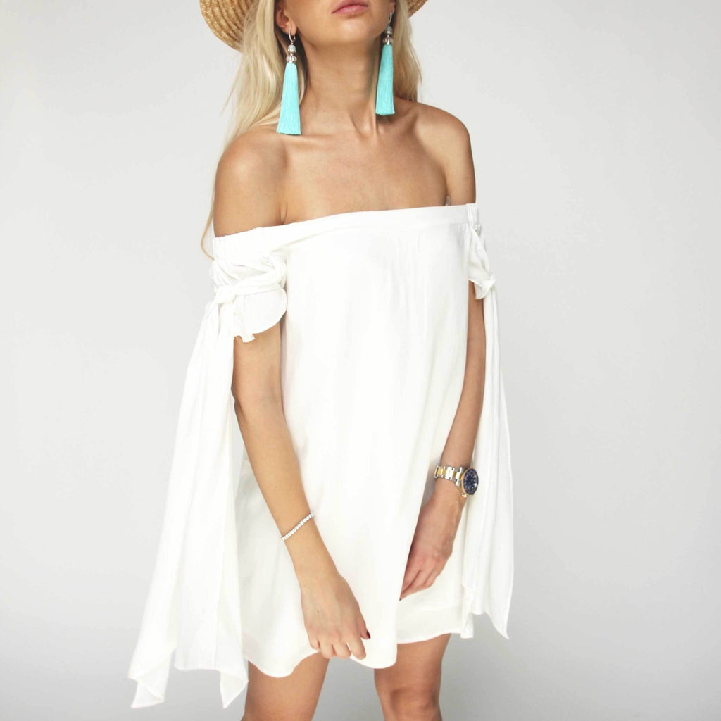 White Off Shoulder Dress - Marble Hive