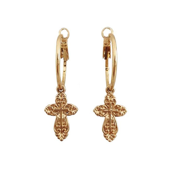 Gold Cross Earrings - Marble Hive