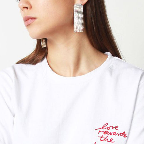 Rhinestone Drop Earrings - Marble Hive