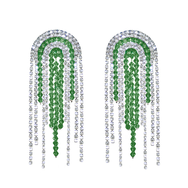 Crystal Emerald Rhinestone Statement Earrings