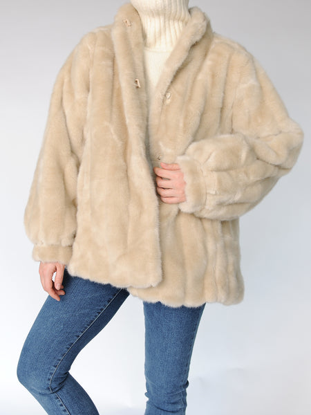 Luxury Faux Fur Beige Jacket - Marble Hive