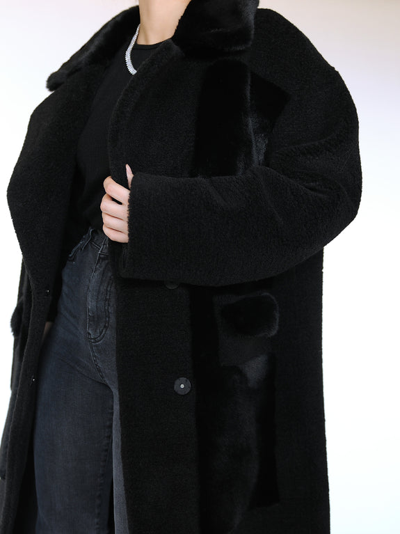 Original Faux Shearling and Fur Coat - Marble Hive