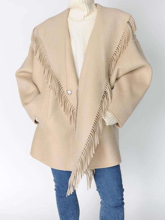 Beige Wool Fringe Coat