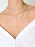Diamente Necklace Square Setting // 18 inch Gold